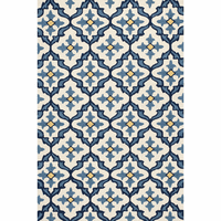 Harbor Ivory and Blue Mosaic Indoor/Outdoor Rug - 2 x 3