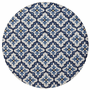 Harbor Ivory and Blue Mosaic Indoor/Outdoor Rug - 8 Ft Round