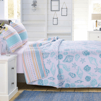 Harbor Sunrise Seashells Quilt Set - King - OVERSTOCK