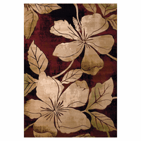 Hibiscus Flower Burgundy Rug Collection