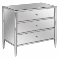Hollywood Nickel And Mirror 3 Drawer Chest