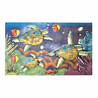 Horizontal Sea Turtle Reef Panel Metal Wall Art