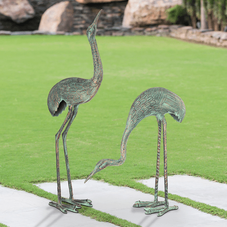 Hungry Cranes Statuary - Set of 2