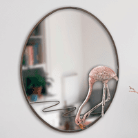 Hungry Flamingo Oval Mirror
