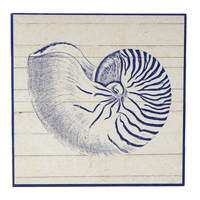 Indigo Blue Nautilus Wood Wall Art