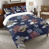 Indigo Coral Duvet Cover - Queen