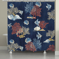 Indigo Coral Shower Curtain