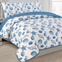 Indigo Ocean Quilt Bed Set - Full/Queen