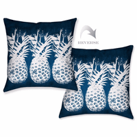 Indigo Pineapples Outdoor Pillow