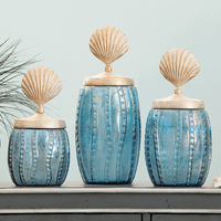 Iridescent Glass Shell Canisters