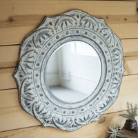 Iron Flowers Round Wall Mirror