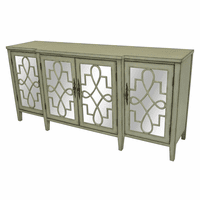 Isabelle Breakfront Gray and Mirrored Sideboard