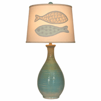 Isle Ridged Teardrop Table Lamp with Fish Shade