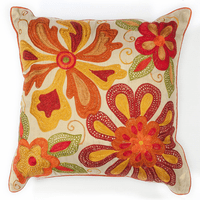 Ivory & Red Sea Flora Pillow