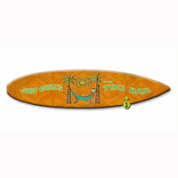 Just Chill'n at the Tiki Bar Surfboard Wood Personalized Sign - 12 x 44