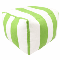 Key Lime Stripes Indoor/Outdoor Square Pouf