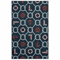 Knotty Sea Icons Navy Rug Collection
