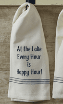 Lake Happy Hour Embroidered Dishtowels - Set of 6