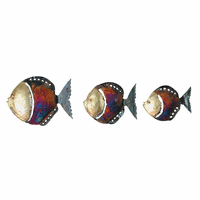 Large Colorful Copper Dripped Fish - Set of 3