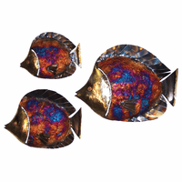 Large Cut Fin Copper Dripped Fish - Set of 3