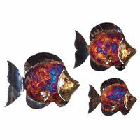 Large Fringed Top Fin Copper Dripped Fish - Set of 3
