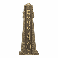Large Lighthouse Vertical House Number Plaque - Antique Bronze