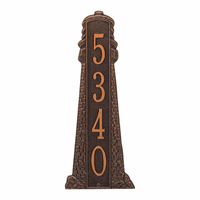 Large Lighthouse Vertical House Number Plaque - Antique Copper