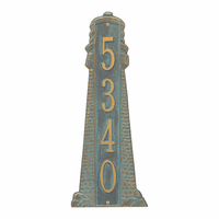 Large Lighthouse Vertical House Number Plaque - Bronze Verdigris