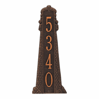 Large Lighthouse Vertical House Number Plaque - Oil Rub Bronze