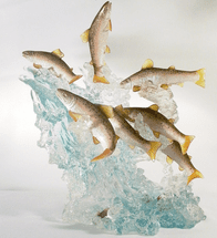 Large Salmon School in Stream Figurine