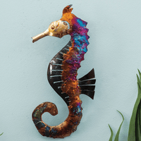 Left-Facing Copper Dripped Seahorse - Large