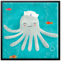 Let's Set Sail Octopus Framed Canvas Wall Art - 10 x 10