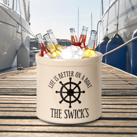 Life Is Better On A Boat Personalized Crock - Black