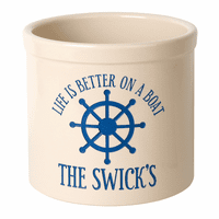 Life Is Better On A Boat Personalized Crock - Dark Blue