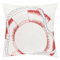 Life Preserver & Rope Indoor/Outdoor Embroidered Pillow