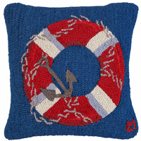 Life Ring & Anchor Hooked Wool Pillow