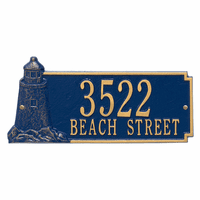 Lighthouse Address Plaque - Blue & Gold