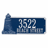 Lighthouse Address Plaque - Blue & White