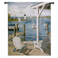 Lighthouse Cove View Wall Tapestry