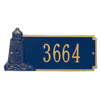 Lighthouse House Number Plaque - Blue & Gold