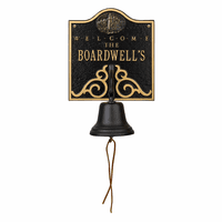 Lighthouse Personalized Bell Welcome Plaque - Black & Gold