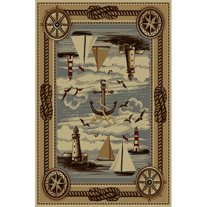 Nautical Area Rugs: 4 X 6 Lighthouse & Sailboat Rug