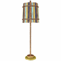 Lime Manila Rope Buffet Lamp with Painted Slat Shade