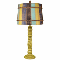 Lime Swirl Table Lamp with Striped Shade