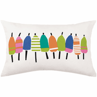 Line of Multicolor Buoys Printed Outdoor Pillow