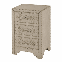 Linen Covered Three Drawer Night Stand with Silver Nailheads