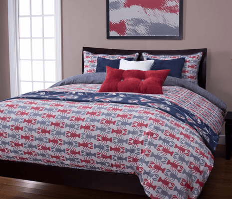 Lobster Bay Blue Duvet Set - King