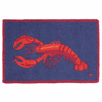 Lobster on Navy Hooked Wool Rug - 2 x 3