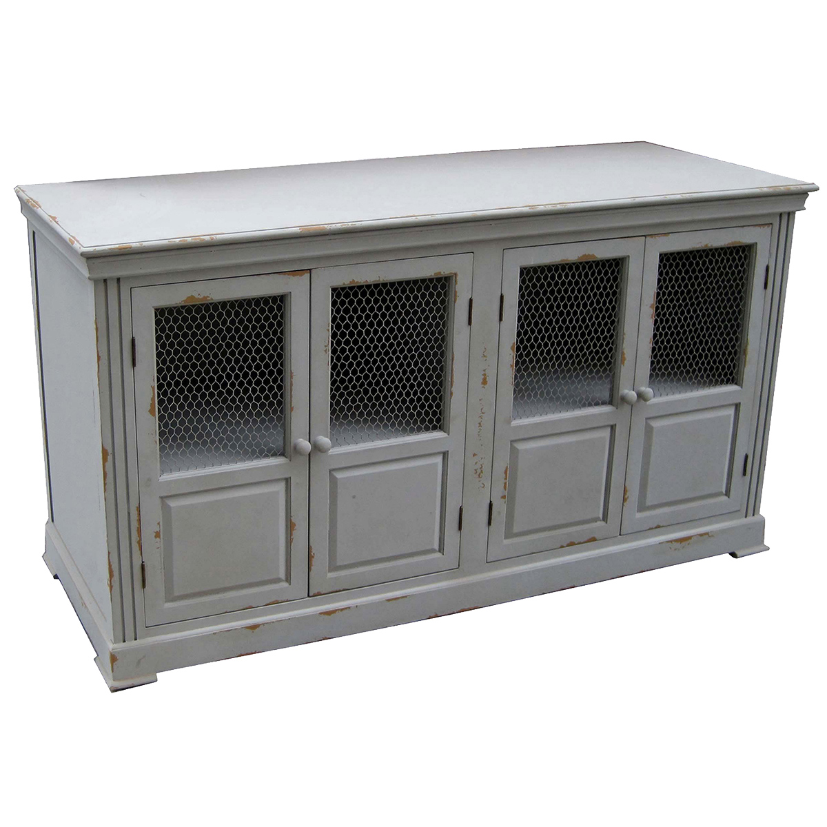 Lydia Pale Gray And Chicken Wire Sideboard