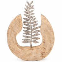 Mango Wood and Aluminum Fern Statuary